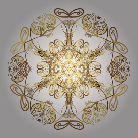 눈송이 패턴. 떨어지는 골드 눈송이와 흰색 배경에 벡터 크리스마스 추상 디자인.