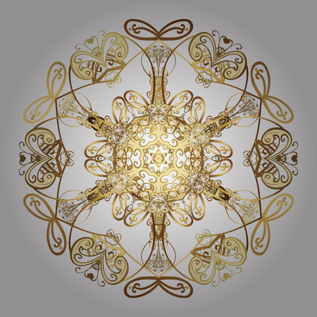 Snowflakes pattern. Vector christmas abstract design on white background with falling gold snowflakes.