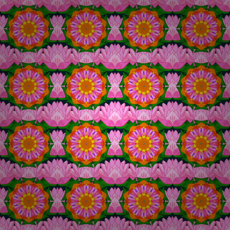 Vector seamless colorful floral pattern. Hand drawn floral texture, blue and pink decorative flowers.