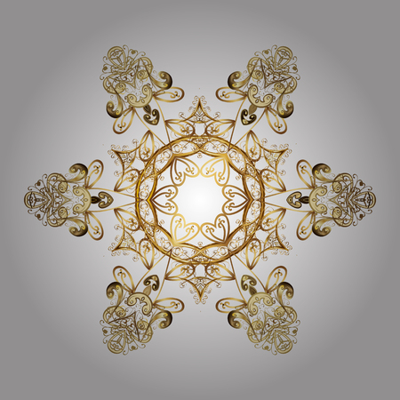 Design. Vector background for Christmas with decorative golden snowflakes. Pattern on white background.