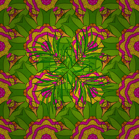 vegetal: Blooming jungle. Motley vector illustration. Seamless exotic pattern with many tropical flowers. Illustration