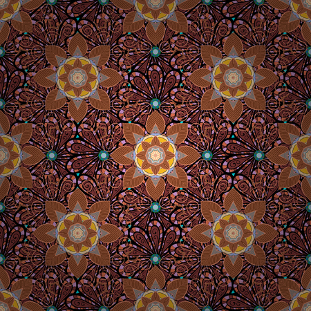 Abstract vector decorative ethnic mandala sketchy seamless pattern on colorful background. Colored elements.