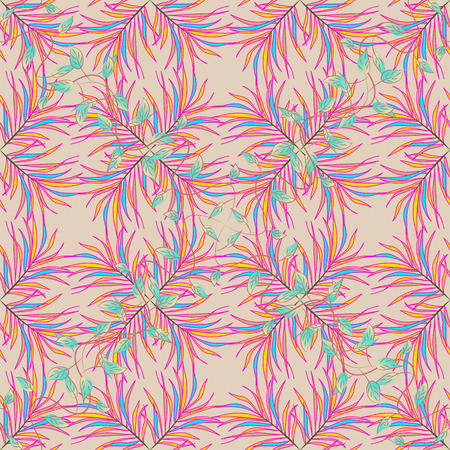 Tribal art boho print, vintage flower background. Background texture, sketch, floral theme in colors. Abstract ethnic vector seamless pattern. Illustration