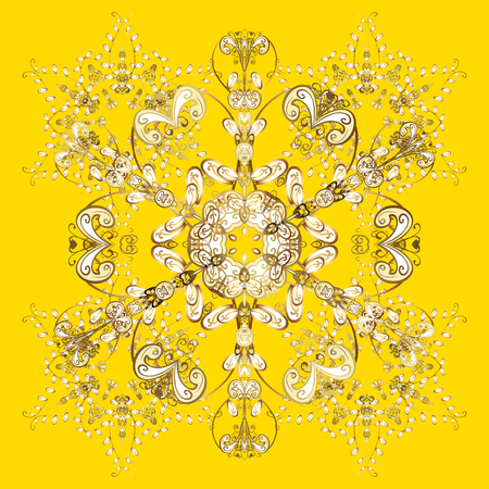 Vector on yellow background. Winter background with golden snowflakes and dots. Illustration