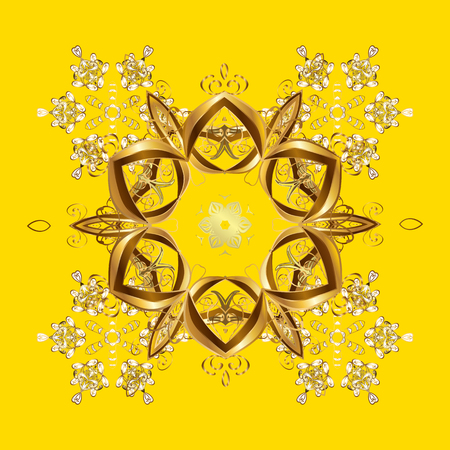 cushy: Trendy stylized golden snowflakes and elements memphis cards. Retro style texture, pattern and abstract winter elements. Modern abstract design poster, cover, card design in yellow colors. Illustration