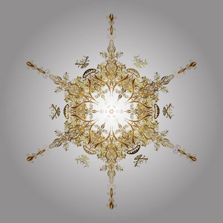 Un vector de oro copos de nieve y el patrón de invierno de Navidad. Mano digital dibujado del elemento en el patrón de superficie limpia, caprichosa y moderna sobre fondo blanco.
