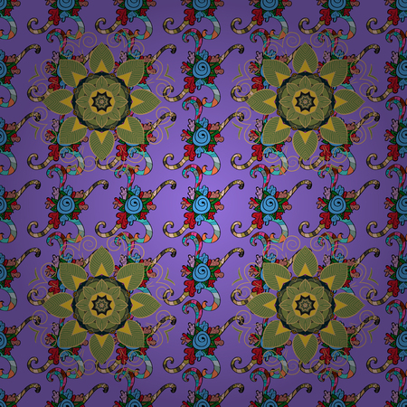 Boho abstract seamless pattern. Colorful colored tile mandala on a colorful background. Intricate floral design element for sketch, gift paper, fabric print, furniture. Unusual ornament decoration. Illustration