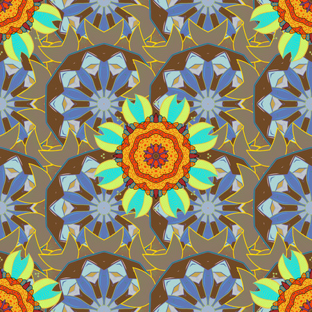 Can be used for sketch, web page. Summer seamless pattern with stylized flowers. Vector ornate zentangle seamless texture, pattern with abstract floral mandalas on colorful background. Illustration