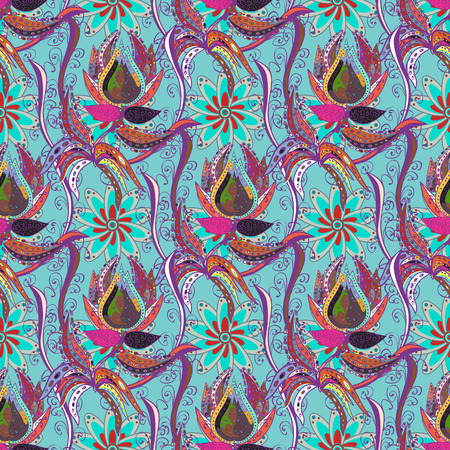 madagascar: Blooming jungle. Motley vector illustration. Seamless exotic pattern with many tropical flowers. Illustration