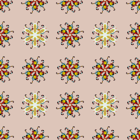 Multicolor ornament of small simple flowers, vector abstract seamless pattern for fabric or textile design. Ilustração