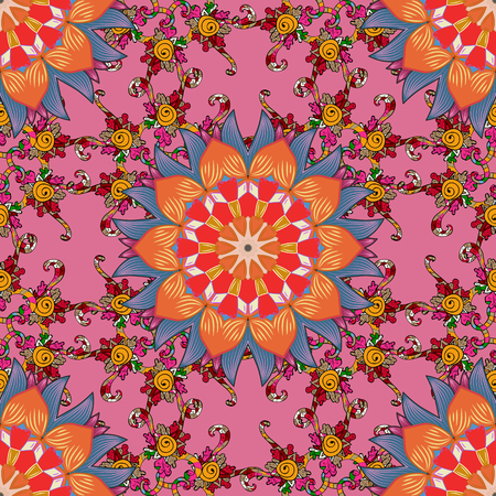 unusual: Boho style flower seamless pattern. Tiled mandala design, best for print fabric or papper and more. Vector Mandala on colorful background.
