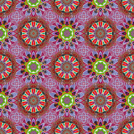 modish: Multicolor ornament of small simple flowers, vector abstract seamless pattern for fabric or textile design. Illustration