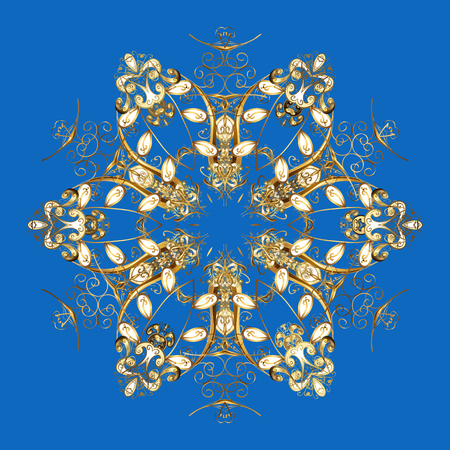 snowing: Repeating Pattern. Vector design. Christmas Stylized Golden snowflakes on a blue Background. Illustration