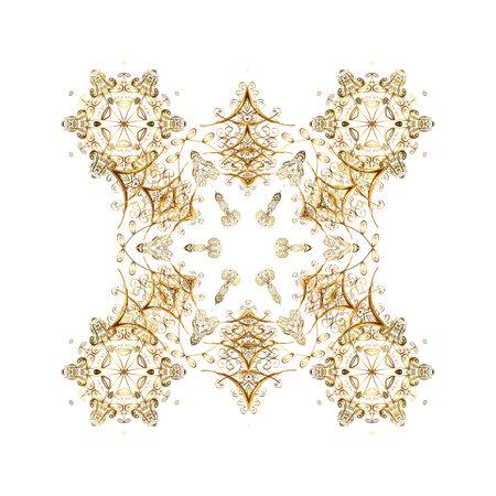 Merry Christmas, New Year and Happy Holiday vector illustration. Christmas card with gold snowflakes design on white background. Winter card.