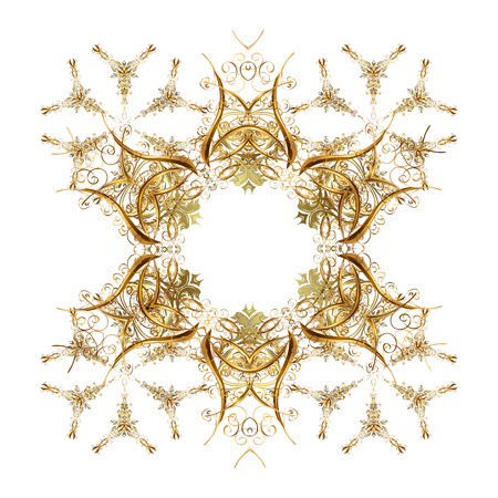 Ornamental artistic vector illustration in white colors for Merry christmas cards. White golden snowflakes in abstract style. Freehand ethnic Xmas sketch. New Year 2018 collection. Stock Photo