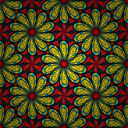 modish: Vintage vector floral seamless pattern in colors. Illustration