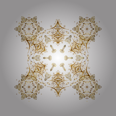 Vector background. Abstract golden snowflakes design. Textile print for bed linen, jacket, package design, fabric and fashion concepts. Snowflakes with watercolor effect.