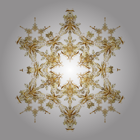 Winter background with golden snowflakes and dots. Vector on white background. Illustration