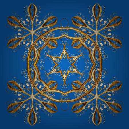 Cornice di Natale con fiocchi di neve dorati astratti e punti su sfondo blu. Illustrazione vettoriale. Fiocco di neve.