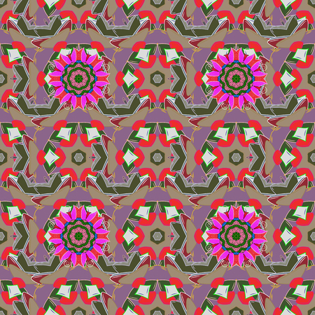 kundalini: Boho abstract seamless pattern. Intricate floral design element for sketch, gift paper, fabric print, furniture. Unusual vector ornament decoration. Colorful colored tile mandala on a background. Illustration