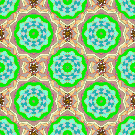 Vector doodle seamless pattern with ethnic mandala ornament on a colorful background. Outline.