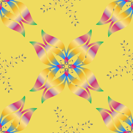 Multicolored ornament flowers, vector abstract seamless pattern.