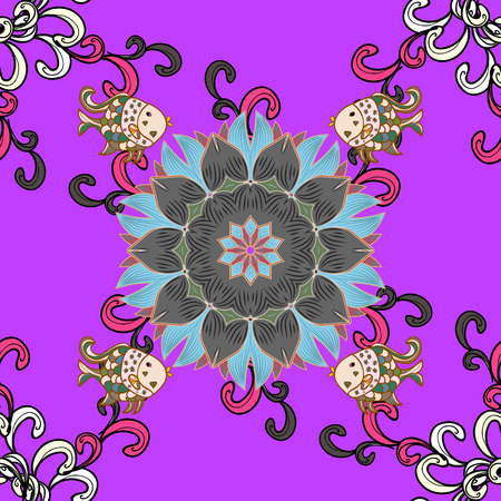 unusual: Vector sketch of colored mehndi mandala on. Traditional indian style, ornamental floral elements for henna tattoo, colored stickers, flash temporary tattoo, mehndi and yoga design, cards and prints.