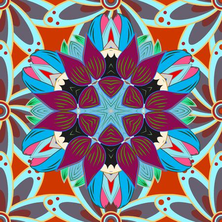 Rich ethnic striped seamless pattern geometric design. Vector illustration. Mandala style. Colored mandala on colorful background.