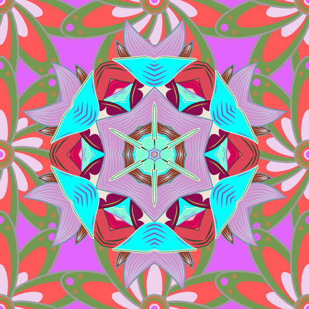 Vector gift voucher template with mandala ornament on a colorful background.