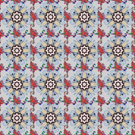 인쇄 된 패브릭 또는 papper 등에 가장 적합한 기와 만다라 디자인. Boho 스타일 꽃 원활한 패턴입니다. 배경. 벡터 만다라입니다.