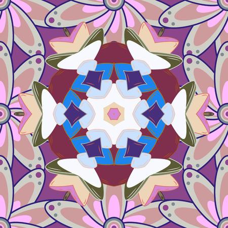 Vector illustration. Rich ethnic striped seamless pattern geometric design. Colored mandala on colorful background. Mandala style.