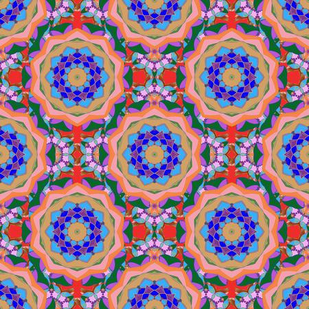 Ornamento rotondo con rami, fiori e riccioli intrecciati. Modello mandala astratto circolare vettoriale. Mandala colorata su un baqckground. Arabesco.