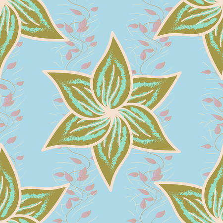 modish: Seamless pattern abstract floral background. Vector sketch of many abstract flowers in colors. Hand drawn seamless flower illustration.