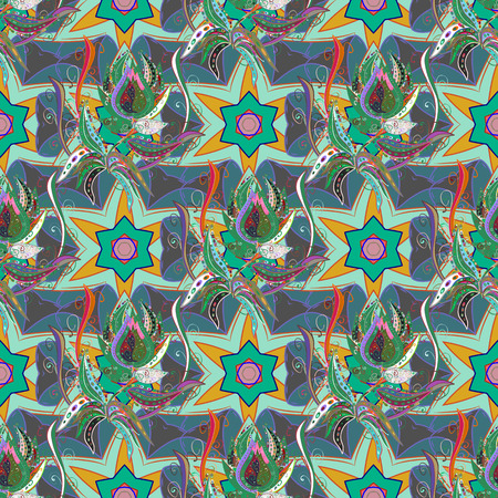 kundalini: Intricate floral design element for sketch, gift paper, fabric print, furniture. Colorful colored tile mandala on a background. Unusual vector ornament decoration. Boho abstract seamless pattern. Illustration