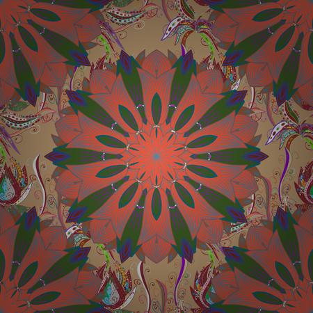 背景にマンダラ。ベクター飾りパターン ラウンド。Glod の色で幾何学的な円の要素。イスラム教の精神的な儀式のシンボル アラビア語、インドの宗