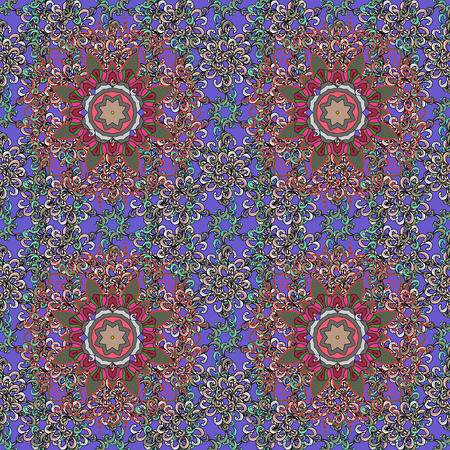 Vector Mandala on colorful background. Boho style flower seamless pattern. Tiled mandala design, best for print fabric or papper and more.