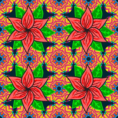 fascinação: Seamless pattern abstract floral background. Esboço vetorial de muitas flores abstratas em cores. Ilustração desenhada à mão da flor sem emenda.