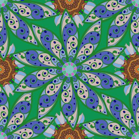 fascinação: Ornamento multicolor de pequenas flores simples e simples, padrão abstrato abstrato de vetor para design de tecido ou têxteis. Ilustração