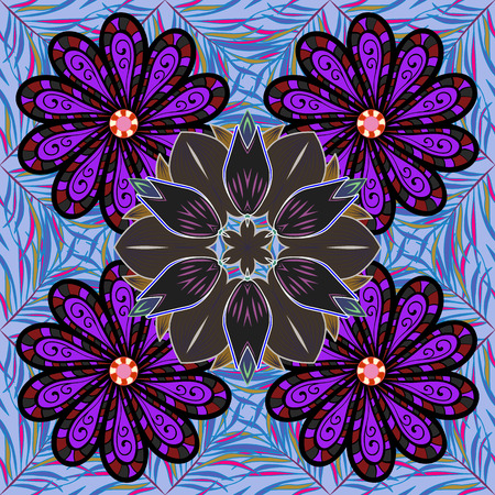 fascinação: Ilustração sem costura vetorial Varicolor. Padrão tropical sem costura com muitas flores abstratas.