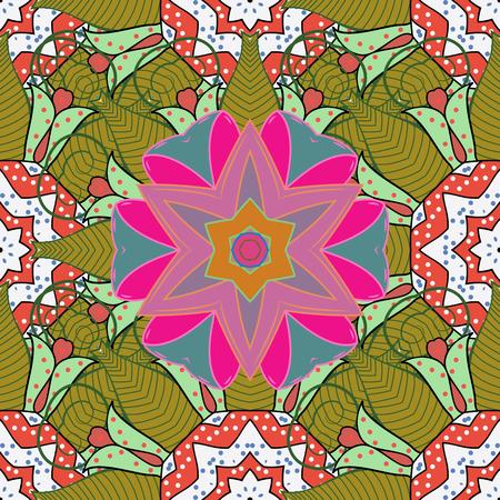 fascinação: Conceito de flor de vetor. Design de verão. Padrão natural da folha em cores. Padrão floral sem costura pode ser usado para esboço, fundo do site, papel de embrulho. Ilustração
