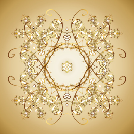 snowing: Vector background. Textile print for bed linen, jacket, package design, fabric and fashion concepts. Snowflakes with watercolor effect. Abstract golden snowflakes design.