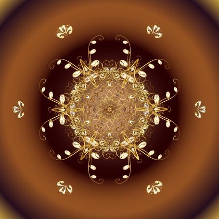 Gelukkig Nieuwjaar winter achtergrond. Vectorontwerp voor textiel, schets, stof, verpakkend document. Eenvoudig Kerstpatroon - gevarieerde Xmas gouden sneeuwvlokken met stippen.
