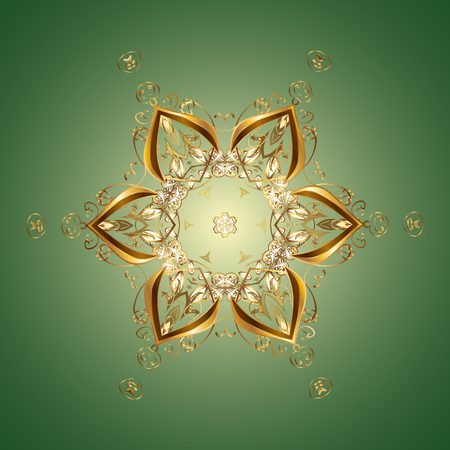 Snowflakes, snowfall. Falling Christmas stylized gold snowflakes. Beautiful vector golden snowflakes isolated on colorful background. Illustration.