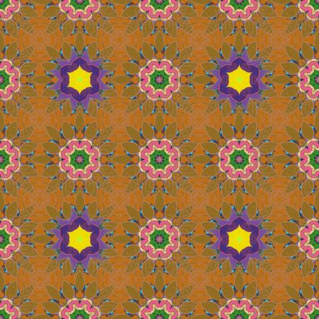 fascinação: Ilustração sem costura vetorial Varicolor. Padrão tropical sem costura com muitas flores abstratas rosa.