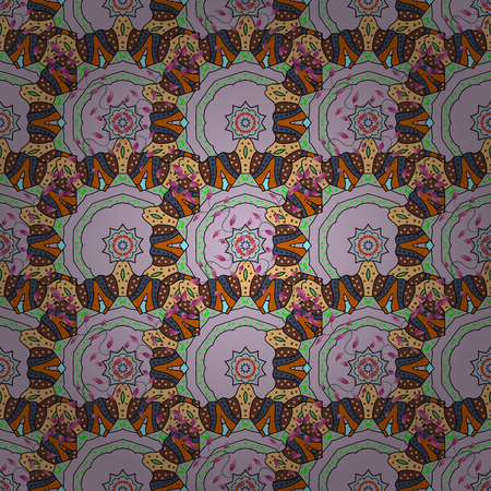 Colorful colored tile mandala on a background. Boho abstract seamless pattern. Unusual vector ornament decoration. Intricate floral design element for sketch, gift paper, fabric print, furniture. 向量圖像