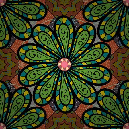 fascinação: Padrão sem costura de vetor etnico abstrato. Impressão artística de arte tribal, fundo de flor vintage. Textura de fundo, esboço, tema floral em cores. Ilustração