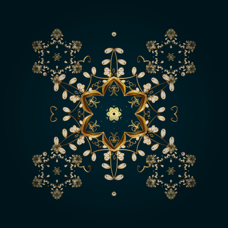 christmas plant: Winter, New Year, Christmas simple design on a colorfil background. Vector with stylized gold snowflakes. Snowflake doodles. Snow crystal regular texture. Illustration