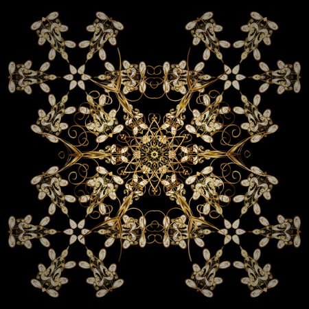 memphis: Golden snowflakes winter New Year frame. Vector ornamental pattern in black colors on black background.