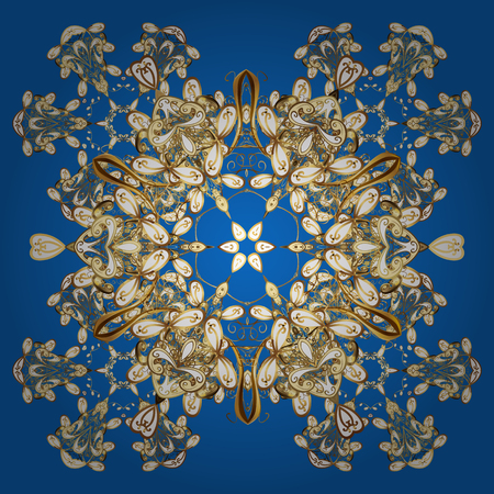 snowing: Ornamental artistic vector illustration in blue colors for Merry christmas cards. New Year 2018 collection. Blue golden snowflakes in abstract style. Freehand ethnic Xmas sketch.