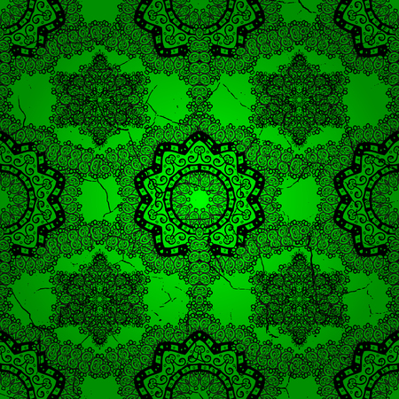 Abstract background with repeating elements. Green and dark pattern. Elegant vector classic pattern.